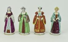 Sitzendorf Hand Painted Ceramic Figure Set of ( 4 ) Henry The V111 Wife's.