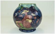 Moorcroft Tubelined Globular Shaped Vase ' Finches and Fruit ' Design. Desi