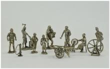 A Collection of Silver Plated Pewter Figures (12) in total. Various subject