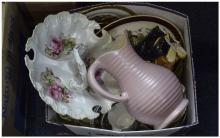 Box Of Misc Pottery And Collectables, Comprising Figures, Plates, Jugs, Ser