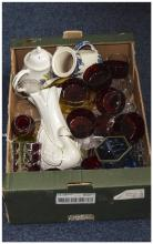 Box Of Misc Pottery And Collectables, Unusual  Od