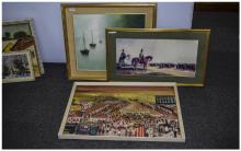 Three Framed Pictures Comprising An Oil On Board Depicting A Travelling Cir