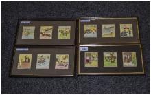 Four Glazed Frames Containing 12 Kensitas Cigarette Cards ''Henry'' c1936