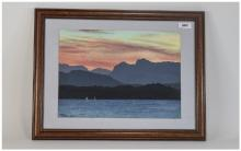 R Wells Framed And Glazed Watercolour Depicting A Sunset Signed And Dated B