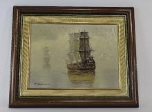 T. Garcia 20th Century Artist ' Galleon on Calm Waters ' Oil on Board. Sign