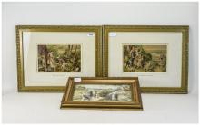 Three Framed Birket Foster Prints The Fern Gatherers, The Blackberry Gather
