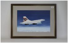R Wells Framed And Glazed Watercolour Depicting A Concorde Signed And Dated