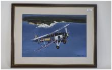 R Wells Framed And Glazed Watercolour Depicting A Bi-Plane Signed And Dated
