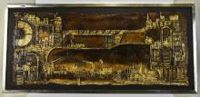 Modern 20thC Tectured Modernist Oil Painting By Cyril Barnes 18 x 38 Inches