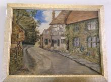 Framed Oil On Canvas Depicting A Village Street Scene With Cottages, Signed