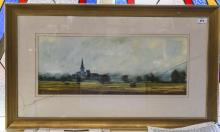 J. Bartholomew 20th Century Artist, Panoramic View of a Large House In a Co