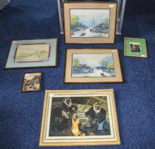 Pair Of Framed Watercolours, Depicting Asian Fishing Boats And Buildings, B