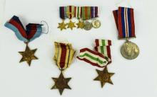 WW2 Interest Group Of Four Medals, Africa, Italy & 1939/45 Star + War Medal