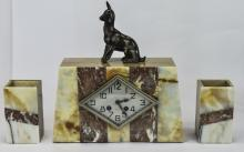 French Art Deco Clock Garniture Set In Mixed Marble Colourway, Mounted To T