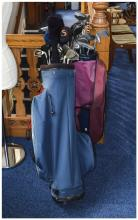 Set Of Golf Clubs, Bag And Trolley, Clubs Marked The Masters