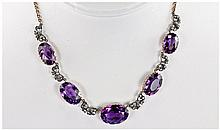 Fine Mid Victorian Gold Set Large Amethyst and