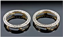 A Pair Of 9ct Gold Diamond Set Bezels For