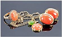 18ct Gold Mounted Coral And Jadeite Stone Pendant,