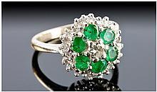 Edwardian 18ct Gold Set Diamond and Emerald
