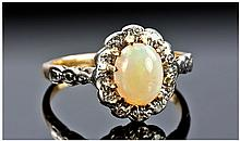 18ct Gold Opal And Diamond Ring, Set With A
