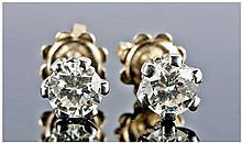 18ct White Gold Set Pair Of Diamond Stud Earrings,
