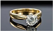 18ct Gold Single Stone Diamond Ring, Set With A