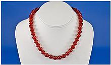 Cornelian Bead Necklace, Length 16 Inches,