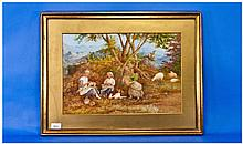 19th Century Signed Watercolour 'Girls Picking