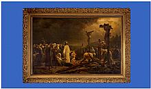 A 19th Century Large Oilagraph On Canvas. By the