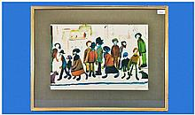 L.S.Lowry 1887-1976 Pencil Signed Coloured Print
