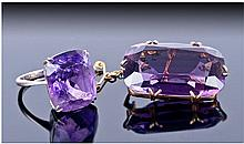 9ct White Gold Amethyst Coloured Ring, Set With A