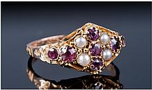 Victorian 9ct Gold Amethyst And Seed Pearl Dress