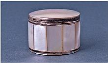 Silver Mounted Mother Of Pearl Pill Box. Diameter