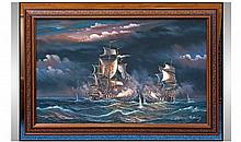 Painting On Canvas, Ship in rough seas in pressed