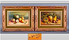 Pair of Still Life Fruit Painting On Panels.