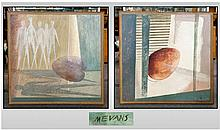 A Pair of Large Abstract Paintings on Board,