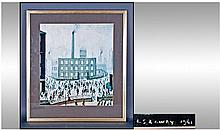 L.S Lowry Industrial Scene Print. Mounted and