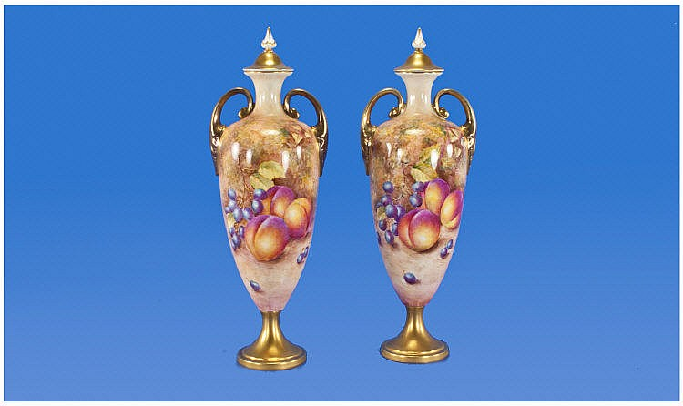 Royal Worcester Very Fine Pair Of Hand Painted Two