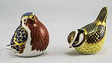 Royal Crown Derby Paperweights ( 2 ) In Total. 1/ Blue tit - Gold Button. 2