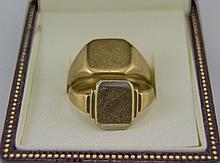 Gents 9ct Gold Signet Rings ( 2 ) In Total. Fully Hallmarked, 12.8 grams. G
