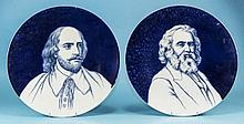 Villeroy and Boch Early Hand Painted Pair of Fine and Large Wall Blue and W