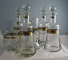 4 Glass Decanters, Engraved Decoration With Gilt Band, Height 12 Inches Tog