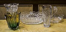 Collection Of Glass Comprising 2 Vases, A Basket And Bowl, Together With A