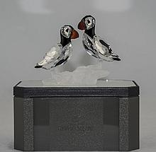 Swarovski Silver Crystal Figurine ' Puffins ' Spine and Head Made of Black