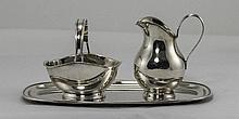 Danish - Good Quality 1920's 3 Piece Silver Set. Comprises Tray, Milk Jug a