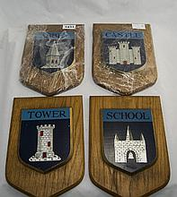 4 Shield Shaped Wall Plaques Depicting Abbey, Castle, Tower And School, 10x