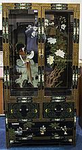 Chinese Style Black Lacquered Display Unit Painted Chinoiserie Design Throu