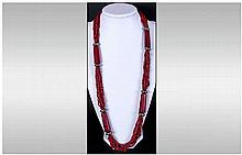 Antique Unusual Amber and Coral Necklace. 32 Inches In Length. 106.3 grams.