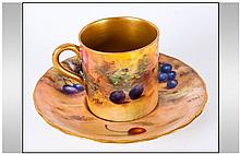 Royal Worcester Hand Painted Miniature Matched Cup and Saucer ' Fallen Frui
