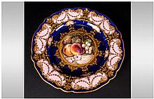 Royal Worcester Hand Painted R. Sebright Cabinet Plate. The Central Panel o